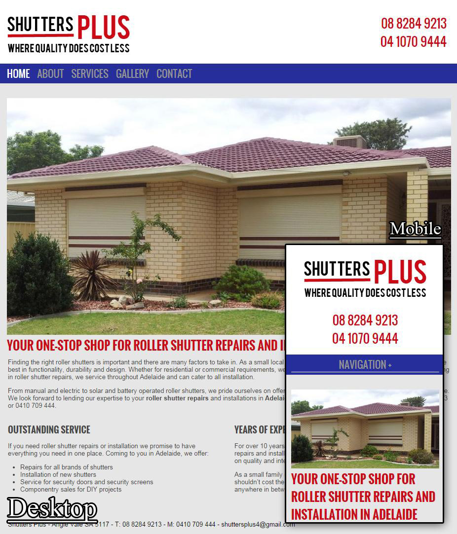 Shutters Plus SA, WordPress, Responsive
